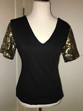 Carmen Steffens women's Sequin Sleeves cocktail knit top black Knit M Sexy Back