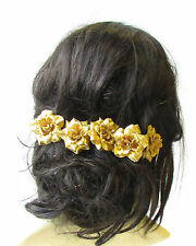 5 x Metallic Gold Rose Flower Hair Pins Vintage Rockabilly Clip 1950s Set 1521