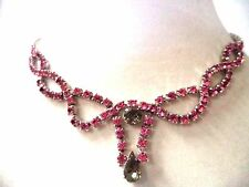 "STUNNING VINTAGE ESTATE HIGH END PINK & SMOKEY RHINESTONE 14 1/4"" NECKLACE G1725"