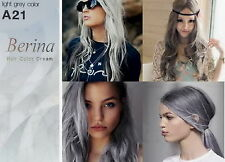 Berina Permanent Hair Color Cream Hair Dye (Light Grey Silver #A21) Punk Style