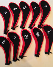 10 Neoprene JL Golf Club Headcovers Head Cover Iron Protect Set red black