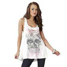 Stone Angel Skull Design Size 10 Women's White Top Tee T-Shirt