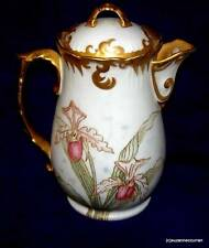 Limoges Hand Painted Pastel ORCHID Coffee Chocolate Pot w/ Gold Enamel Outlining