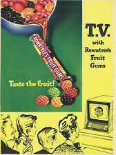 Vintage Confectionery Advertising poster  A4 RE PRINT Rowntrees Fruit Gums tv