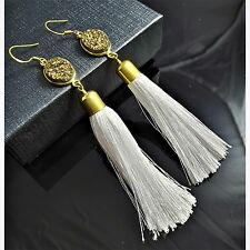 Gold Natural Druzy 18K Yellow Gold White Silk Tassel Silver Hook Boho Earrings