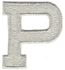 "1 7/8"" Bright Metallic Silver Monogram Block letter P Embroidery Patch"