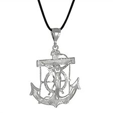 Sterling Silver .925 Crucifix Anchor Cross Mariner Pendant XL | Made in USA