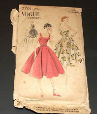 Vintage 1950s Pattern Vogue 7701 Circular Dress Bare Top Complete Cut Size 14