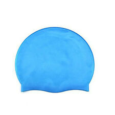 Silicone Swimming Cap for Women and Men - Long Hair Thick or Short Average Blue
