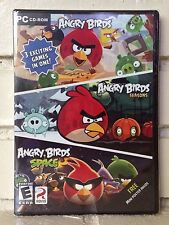 angry birds 3-pack of action adventure computer games --- new