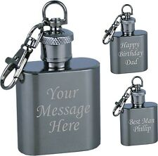 Engraved 1oz Hip Flask Keyring Personalised Retirement/ Leaving Gift - Present