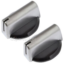 2 x BAUMATIC Genuine Oven Cooker Knob Grill Hob Switch Dial Silver Black
