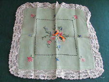 """SHABBY CHIC LIGHT GREEN 12"""" PILLOW SHAM W COLORFUL FLORAL EMBROIDERY"""