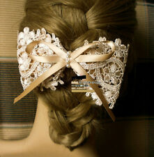 Women Hair Clip Big Bowknot Lady Pearl Lace Barrette Silk Fabric Ribbon Bow Clip