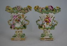 Pair Small Coalport Flower Encrusted Vases Coalbrookedale Style c.1835