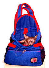 Size LARGE Denim Front Pouch Dog Pet Carrier for Yorkie/Chihuahua - RED Straps