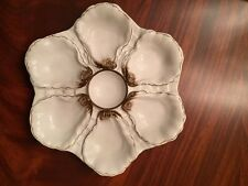 Vintage OYSTER PLATE--WHITE and BROWN made in ITALY