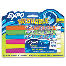 """""""EXPO Washable Dry Erase Marker, Fine Point, Assorted, 6 Per Set"""""""