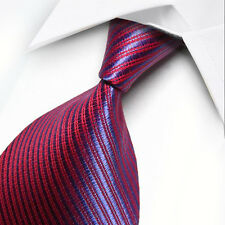 ST017 Red Blue Stripes 100% New Silk WOVEN JACQUARD Men's Tie Necktie