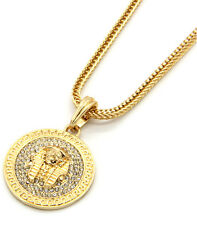 "Mens Medallion Pharaoh Gold Clear 24"" Franco Chain Pendant Necklace"