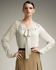 NWT $325 ROBERT RODRIGUEZ BEIGE EMBROIDERED CHIFFON CAMI + BLOUSE 4