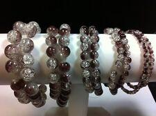 CRACKLE Perles DE VERRE MAUVE BLANC ROND à 2 couleurs 4mm 6mm 8mm 3 Brins D305