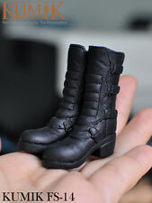 1/6 KUMIK FS-14 Female Shoes Boots Hollow Black Color For 12'' Figure Body Toys