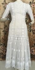 Antique Edwardian Cotton Tea Dress Fish Tail Skirt Lace Cutwork Dense Whitework