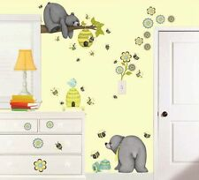 66 PATCHWORK HONEY WALL DECALS Baby Bears Bees Flowers Stickers Nursury Decor