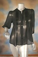 NEW AQUA black sheer chiffon piano pleated peasant 3/4 sleeve blouse shirt XS