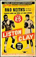"""MUHAMMED ALI POSTER - SONNY LISTON VS  CASSIUS CLAY - 12"""" X 18"""" REPRODUCTION"""