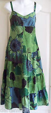 NEW~MONSOON~SILK & COTTON DRESS 8 GREEN BLUE BEADED EMBROIDERED EVENING/WEDDING