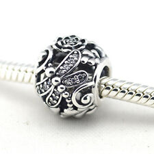 CRYSTAL PAVE OPEN DRAGONFLY in MEADOW .925 Sterling Silver European Charm Bead
