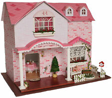 50% OFF ~ DIY WOODEN LUXURY DOLLHOUSE, #A-003, W/4 ROOMS, LIGHTS & FURNITURE