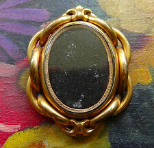 antique Victorian gold plate & glass double photo locket mourning brooch -C689