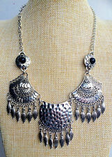 Silver Tibetan Boho Chic Vintage Style Bohemian Mexican Gypsy Tassel Necklace