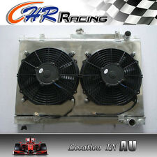 FOR 52MM NISSAN SKYLINE R33 R34 GTS-T RB25DET Aluminum Radiator+Fan Shroud+2Xfan