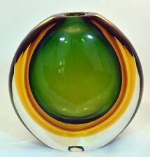 Emerald tobacco and amber round Sommerso murano glass vase