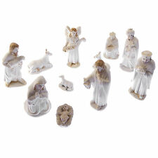 "11 figure Christmas Nativity scene ornament porcelain style resin 3.5"" gift"