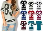 NEW WOMENS LADIES STRIPE USA BASEBALL VARSITY 85 PRINT T SHIRT BAGGY TOP 8-14