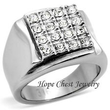 HCJ Stainless Steel Square Shape Pave Setting Men's CZ Ring - SIZE 9