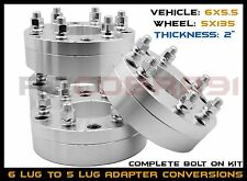 "4 Pc 6x5.5"" To 5x135 mm 2"" Thick Wheel Spacers Conversion Ford Wheels on 6x139.7"
