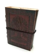Leather Diary - Tree of Life Handmade Paper Engraved Brown Leather Bound Journal