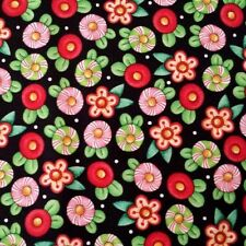 Trimming the Tree Mary Engelbreit Candy Flowers Black Cotton Fabric Fat Quarter