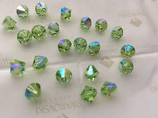 60 Swarovski #5301 6mm Crystal Peridot AB Faceted Bicone Beads