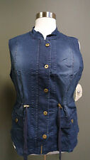 ONE WORLD PLUS SIZE DRAWSTRING WAIST SLEEVELESS ZIP FRONT STRETCHY DENIM VEST 2X