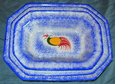 Staffordshire Blue Spatterware Peafowl Set of 3 Nesting Bowls
