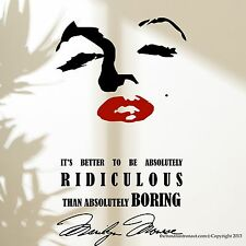 Marilyn Monroe Wall Decal Stickers Eye and Lip Decor Easy Decal with Quote
