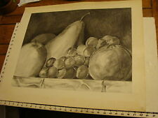 JAN STEELE, drawing: pencil: STILL LIFE: fruit in bowl, close up