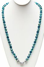 """KIRKS FOLLY NEW 30"""" LENGTH GODDESS CRYSTAL  2-TONE MAGNETIC  NECKLACE teal / st"""